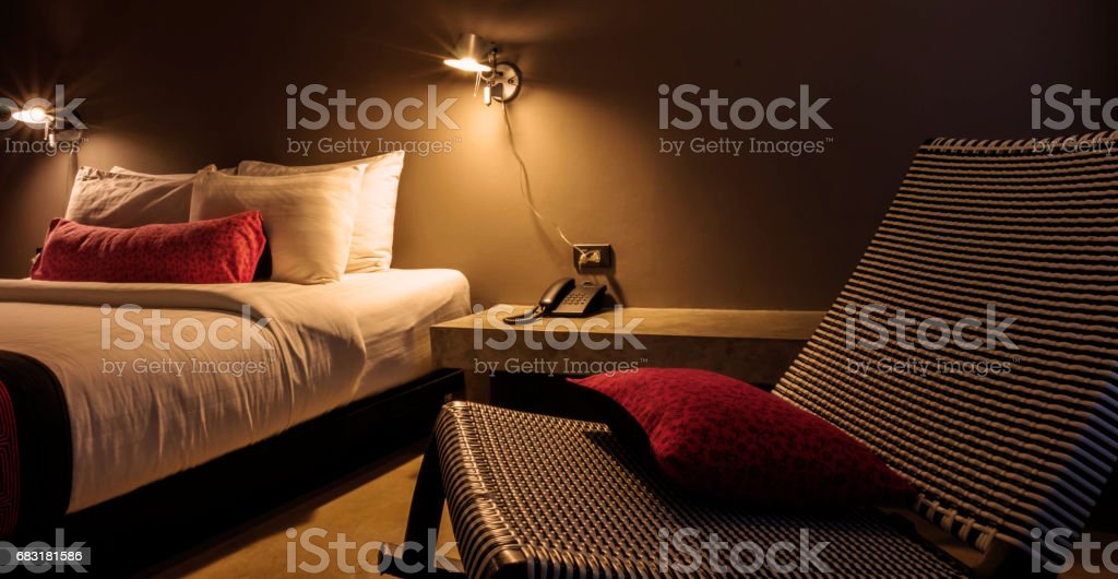 bedroom at night royalty-free 스톡 사진