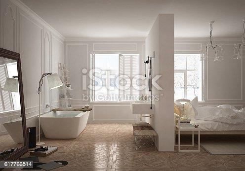 istock Bedroom & bathroom in scandinavian style 617766514
