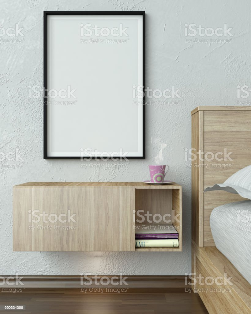 Bedroom Closeup With Blank Frame stock photo