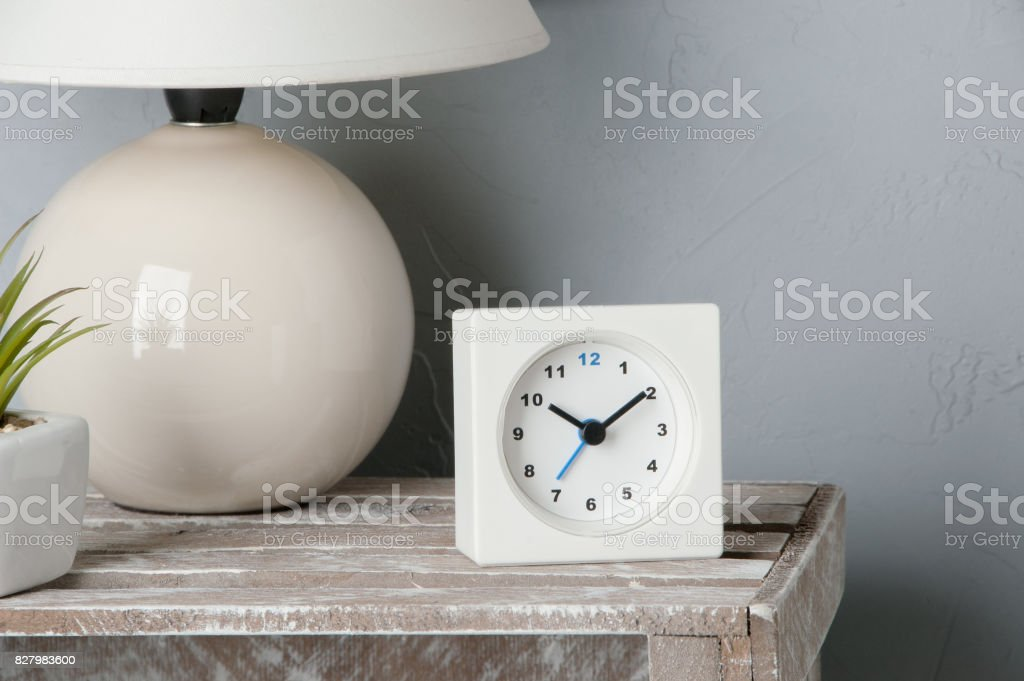 Bedroom decor on gray stock photo