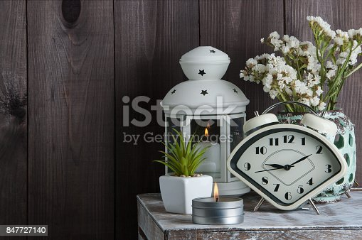 istock Bedroom decor on wooden background 847727140