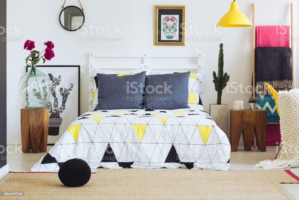 Bedroom decor with geometric pattern stock photo