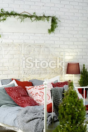 Bedroom decorated for Christmas time close up