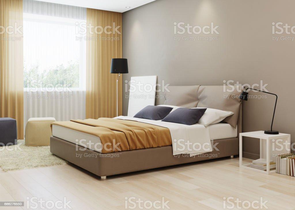 Bedroom design in warm tones. 3D rendering.