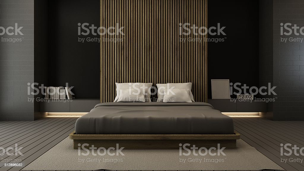 Photo de stock de Chambre à Coucher Style Moderne 3d Render Loft ...
