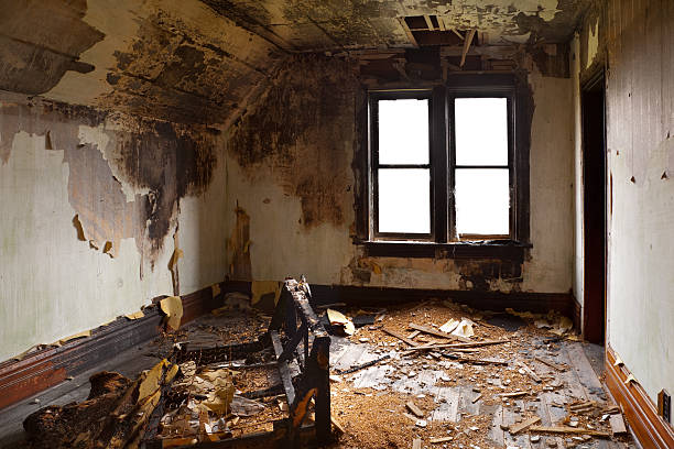 bedroom destroyed by fire - damaged stock photos and pictures