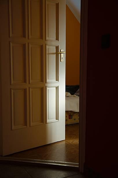 Bedroom Door stock photo. Open Door At Night Pictures  Images and Stock Photos   iStock