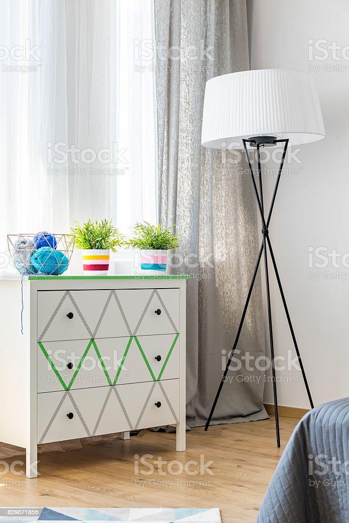 Bedroom full of light stock photo