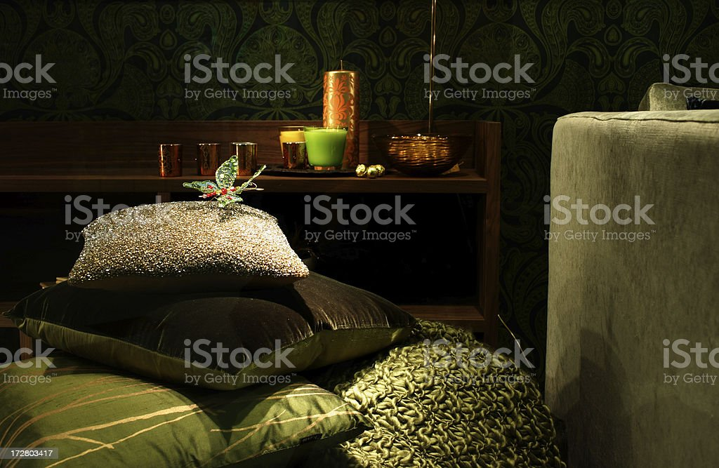 Bedroom furnishings with tactile textiles and textures stock photo