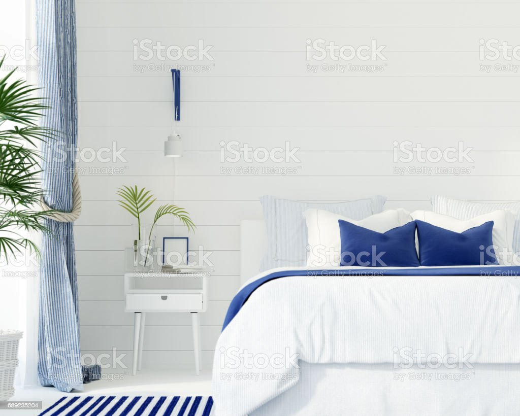 Bedroom in a marine style stock photo