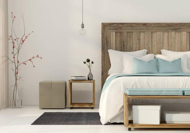 schlafzimmer in einem minimalistischen stil - schlafzimmer stock-fotos und bilder