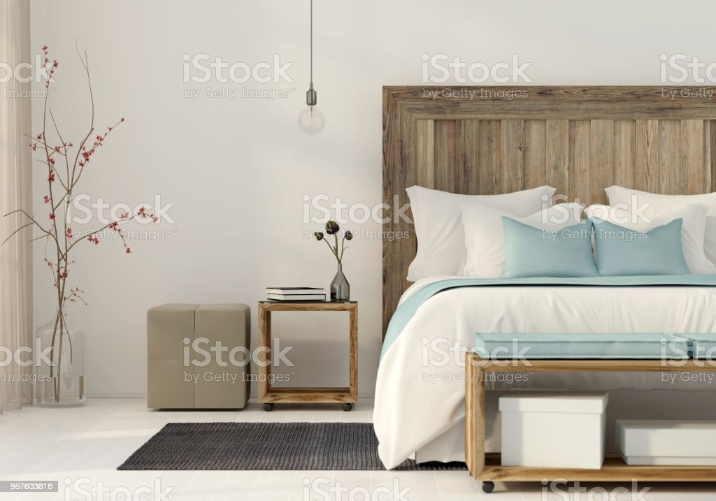 Bedroom in a minimalist style stock photo