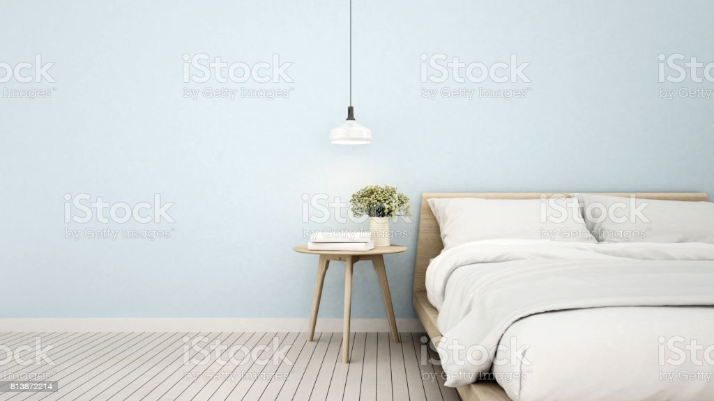 bedroom in apartment or home - 3D Rendering stock photo