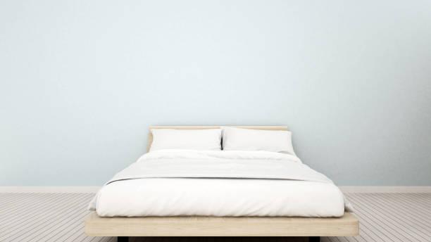 schlafzimmer in wohnung oder haus - 3d rendering - hellblaues zimmer stock-fotos und bilder