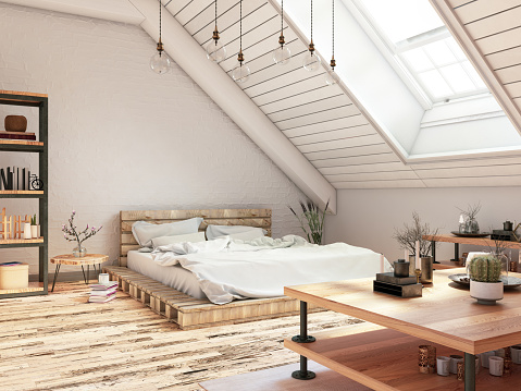Loft room with cozy design.