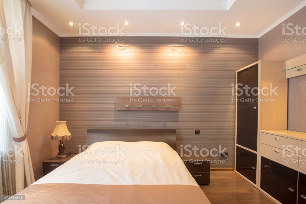 Bedroom In Brown Design With Ceiling Lighting Front View ...