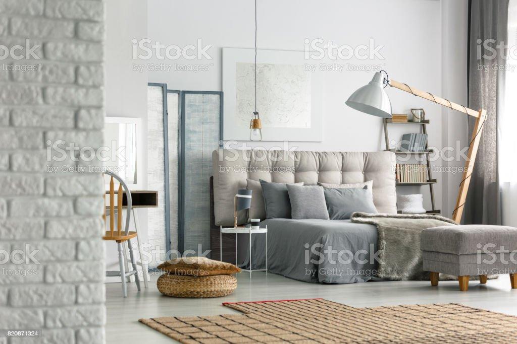 Bedroom in loft stock photo