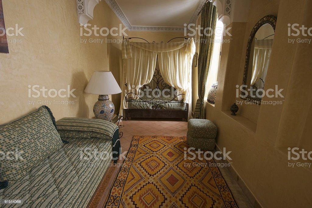 Bedroom in Moroccan Riad, Marrakesh stock photo
