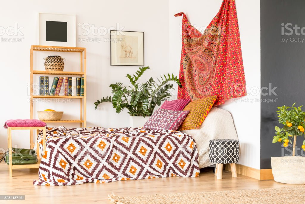 Delicieux Bedroom In Oriental Style Stock Photo
