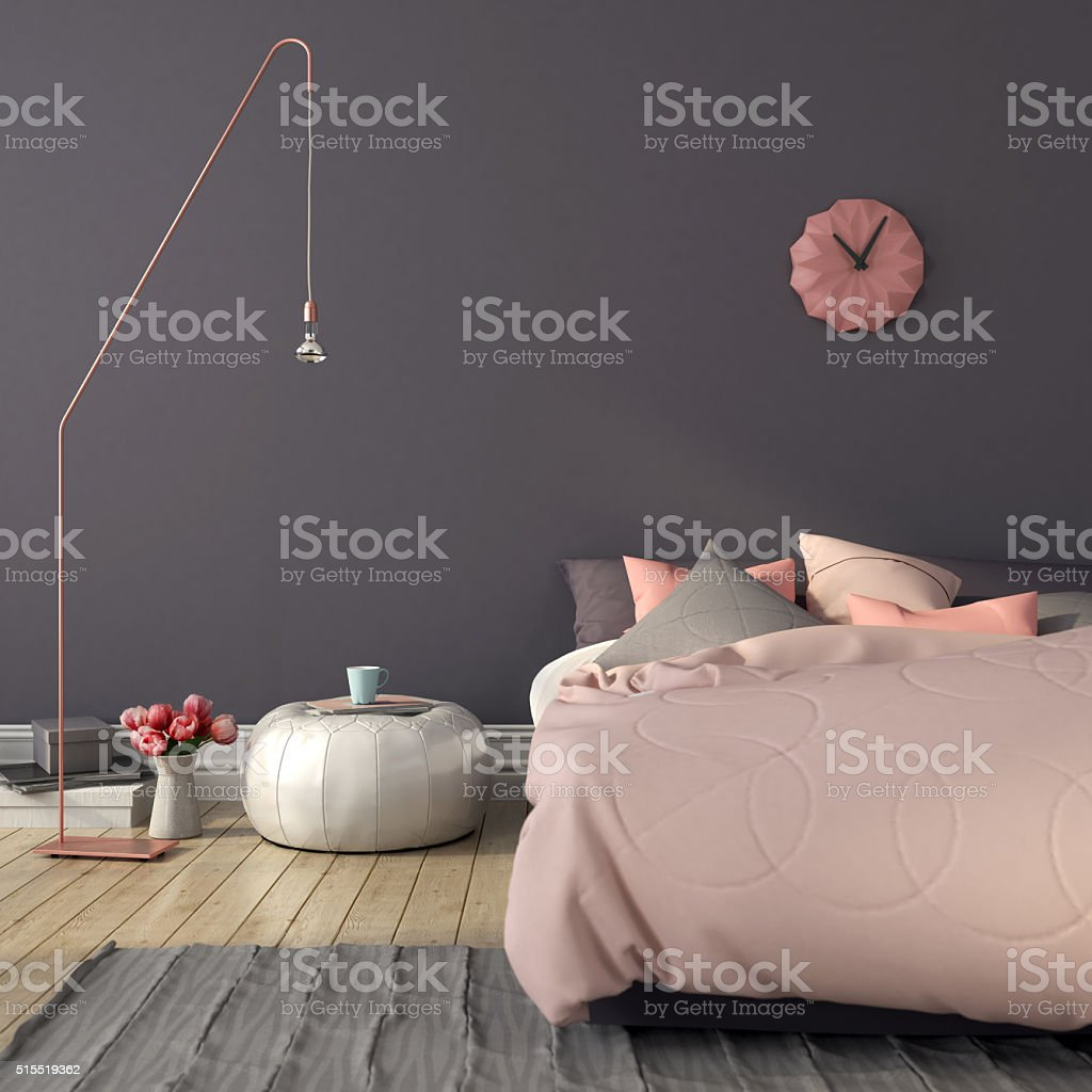 Bedroom in pink and gray color stock photo