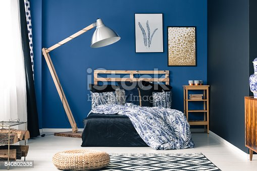 508860888 istock photo Bedroom in rich blue color 840802538