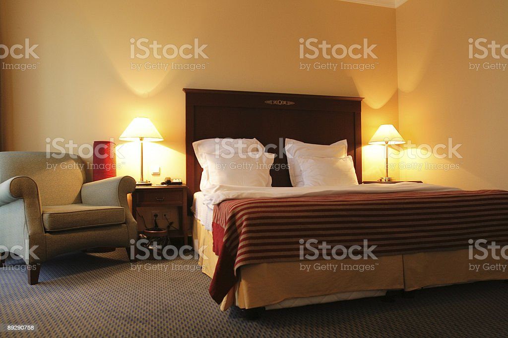 Bedroom in the evening stock photo