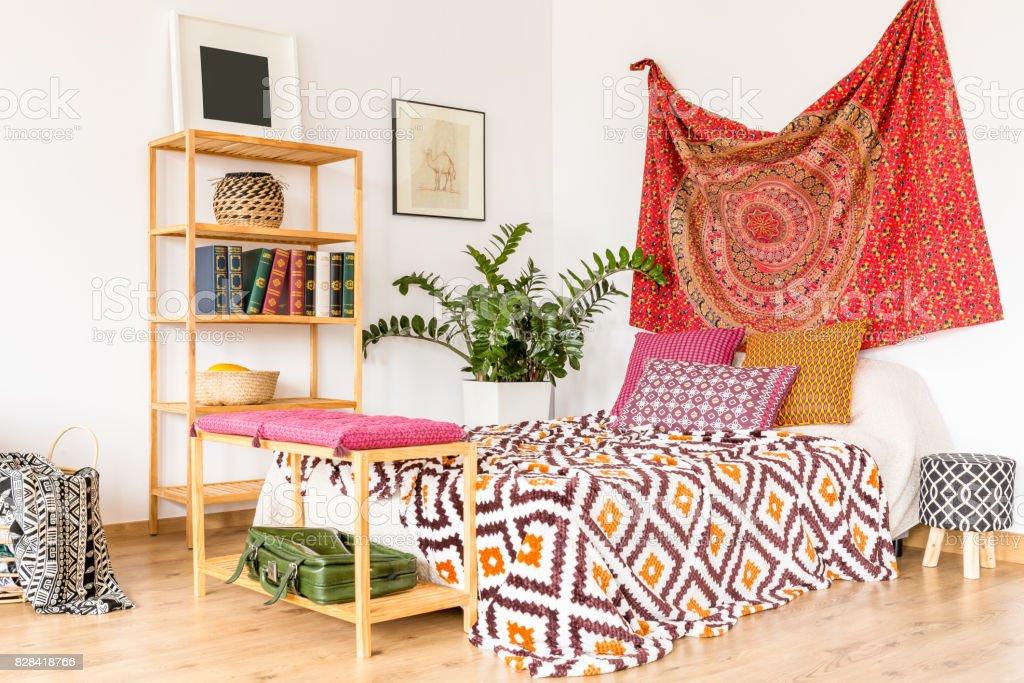 Bedroom in warm color Boho and cozy bedroom in warm color Apartment Stock Photo
