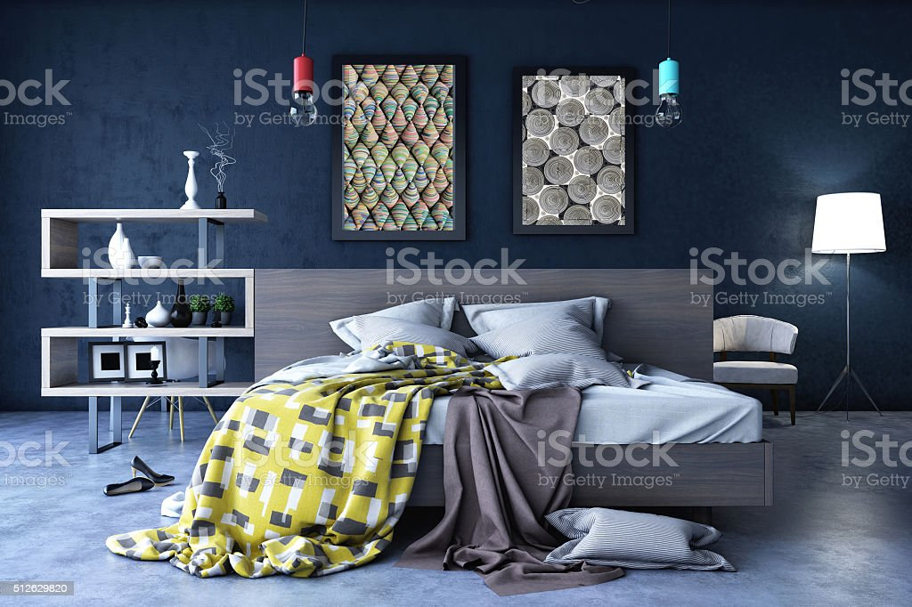 Bedroom in Warm Colors stock photo