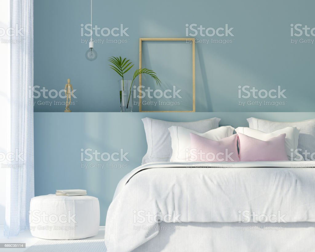 Bedroom in white and blue color stock photo