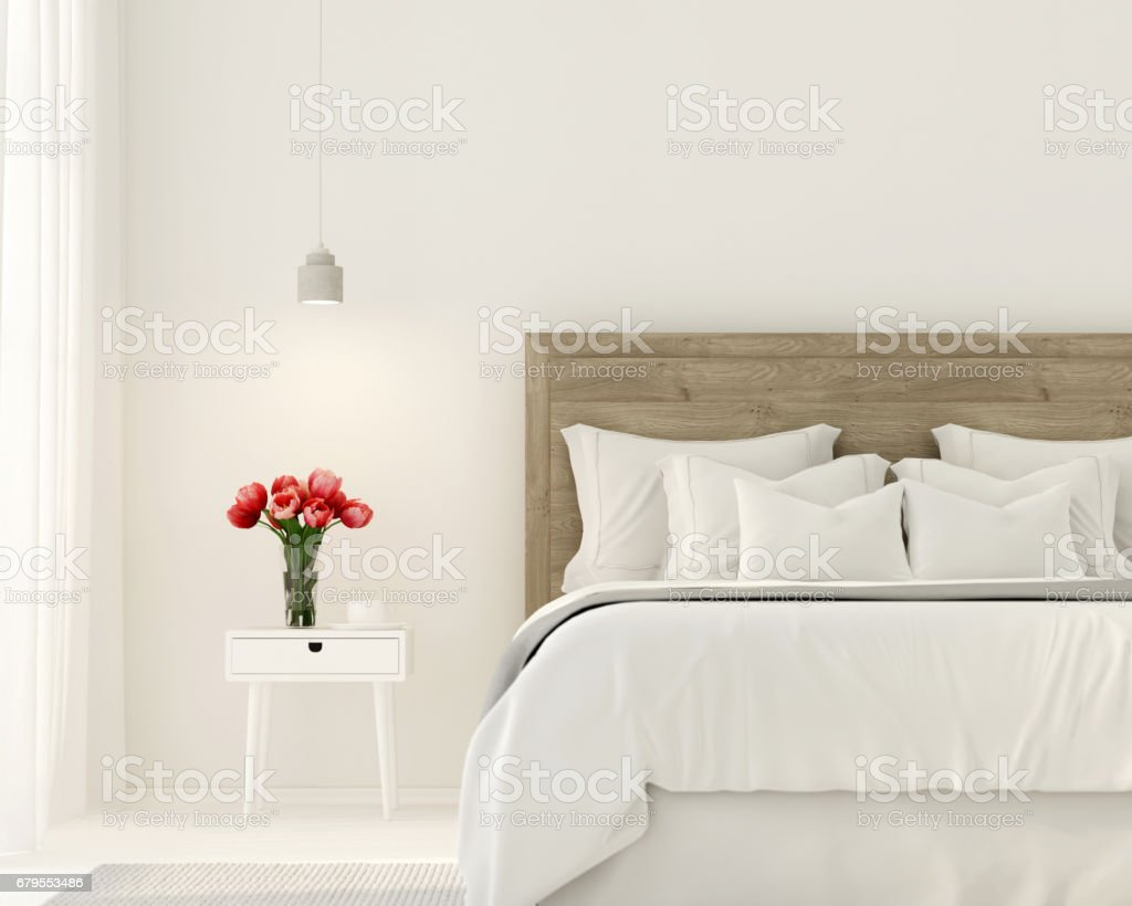 Bedroom in white color stock photo