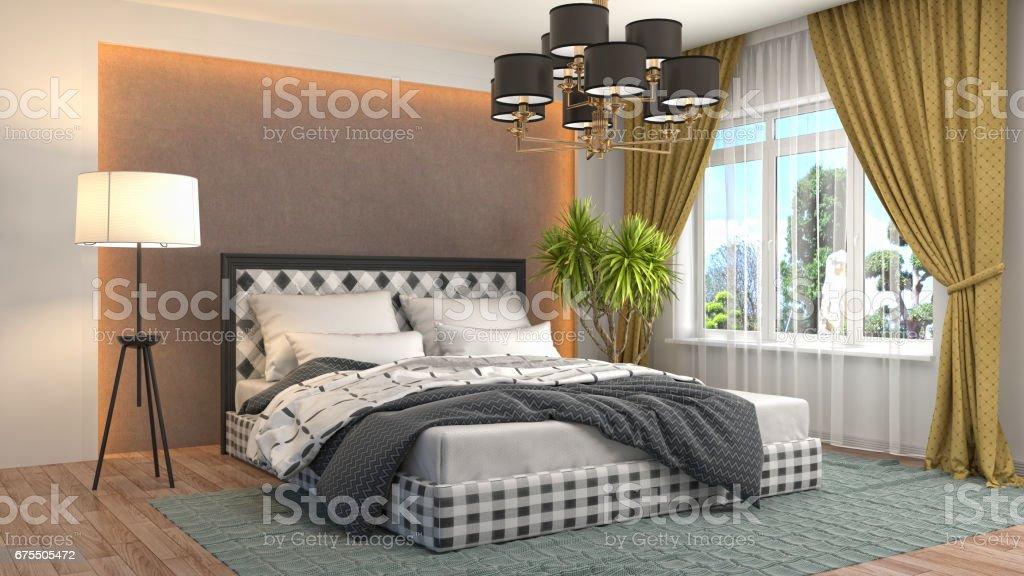 Intérieur de la chambre à coucher. 3 d illustration photo libre de droits