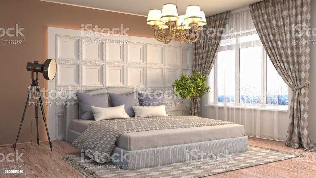 Schlafzimmer Einrichtung. 3 d illustration Lizenzfreies stock-foto