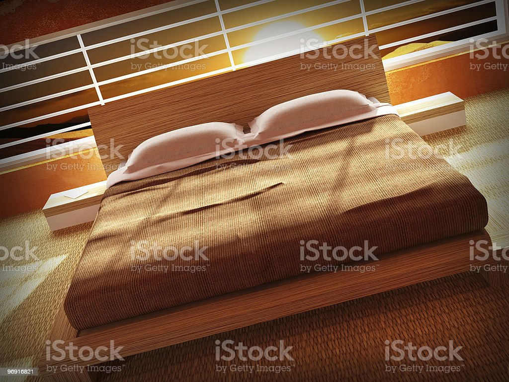 bedroom interior and sunset royalty-free stock photo