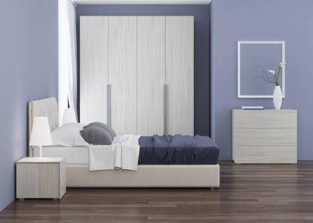 schlafzimmer-innenarchitektur. 3d-rendering. - laminatschränke stock-fotos und bilder