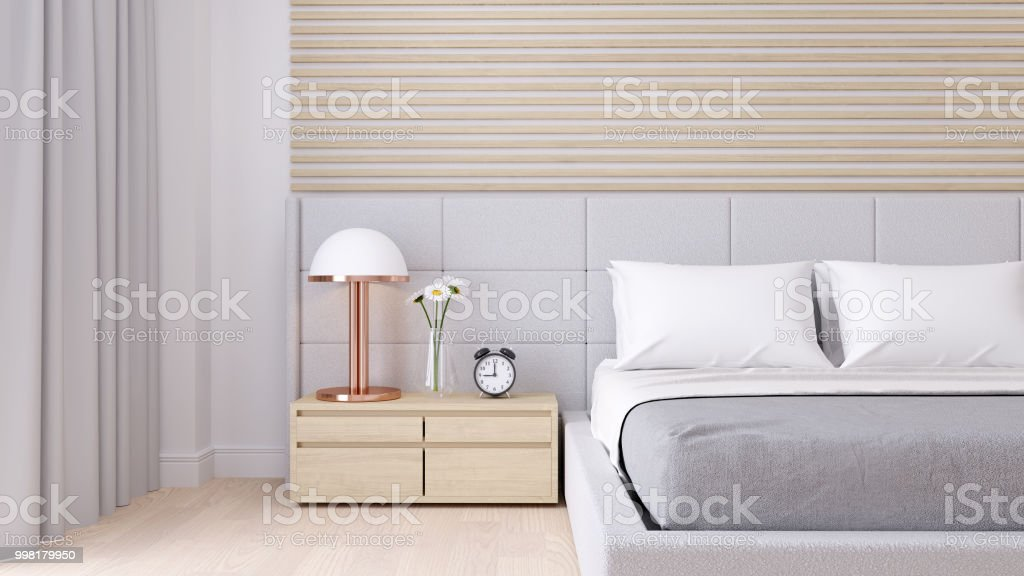 Bedroom Interior Dssign With Modern Minimalist Style.,Cozy White Room And  Simple Comforts,