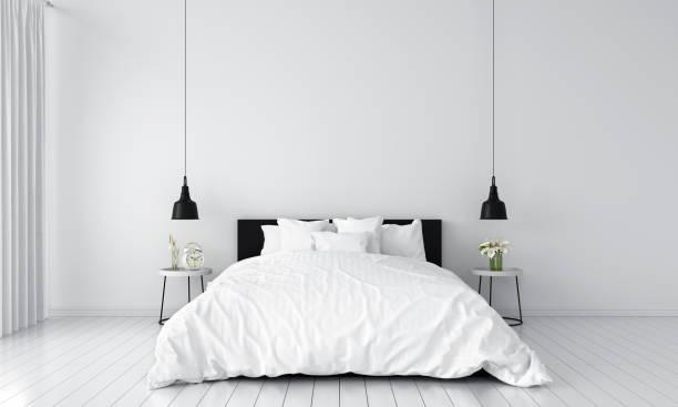 schlafzimmer innenraum für mockup, 3d rendering - schlafzimmer stock-fotos und bilder