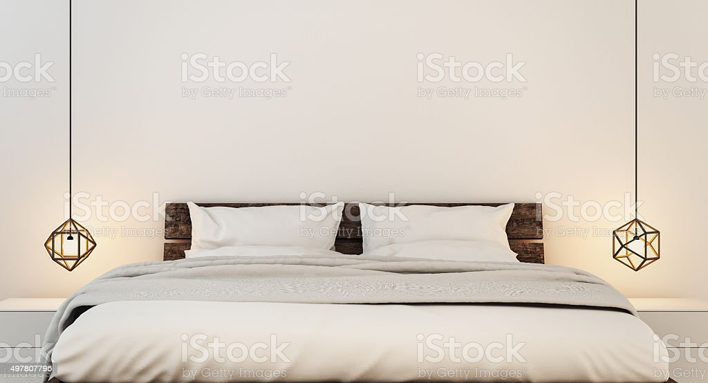 Bedroom interior for modern home and hotel bedroom stock photo