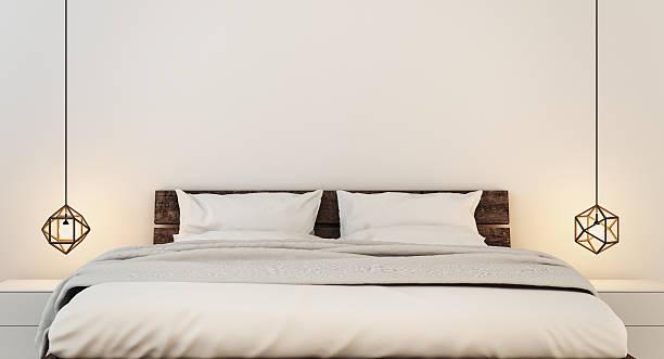 schlafzimmer einrichtung für moderne zuhause und hotel schlafzimmer - schlafzimmer beleuchtung stock-fotos und bilder