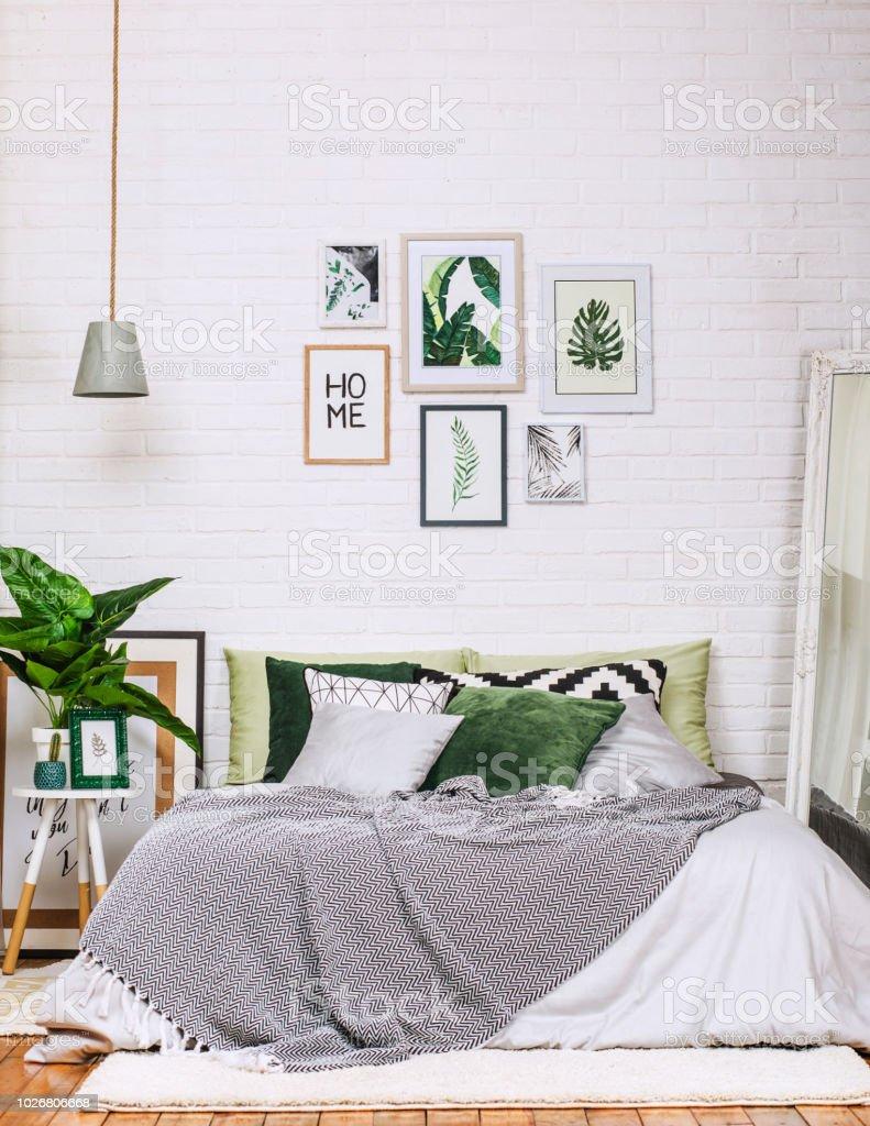 Schlafzimmer Innenraum Haus Stil Muster Weiss Grun Stockfoto Und Mehr Bilder Von Architektur Istock