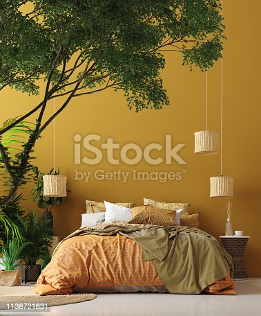 Bedroom interior in Bohemian style with patterned bed and floral corner, 3d render