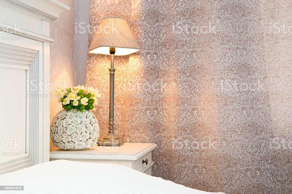 Bedroom interior in cream color stock photo