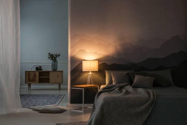 wnętrze sypialni w nocy - lampa elektryczna zdjęcia i obrazy z banku zdjęć
