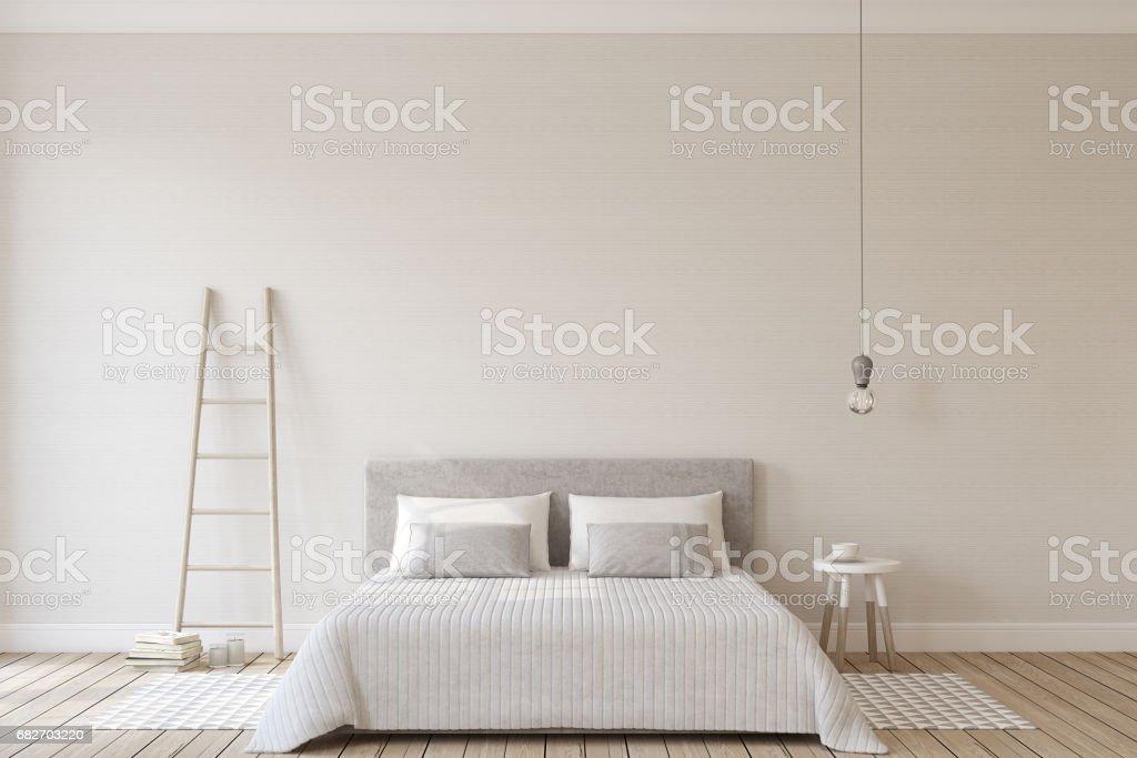 Bedroom interior. Mock-up. stock photo