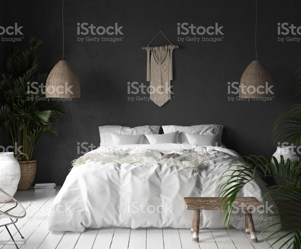 Intérieur De La Chambre à Coucher Avec Mur Noir, Un Décor De Style Bohème Et