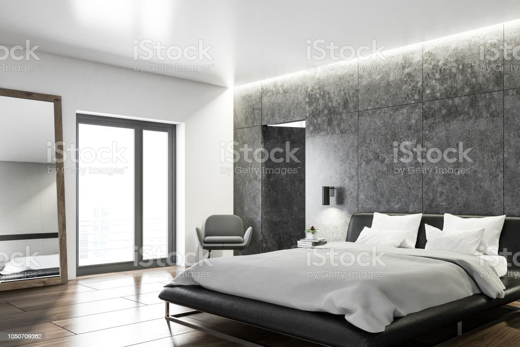 Bedroom Interior With Concrete Walls Side View Stock Photo Download Image Now Istock