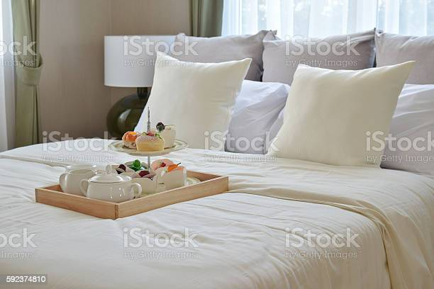 Bedroom interior with decorative tea set and dessert on bed picture id592374810?b=1&k=6&m=592374810&s=612x612&h=re8k1jlyibufzy5 2f2iisdnly5n1gqrvmhfz3mfr7u=