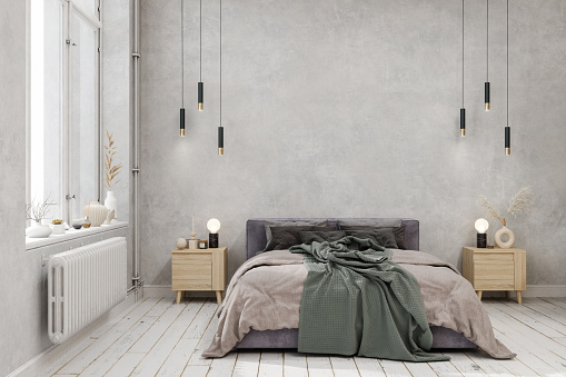 Bedroom Interior With Green Blanket On The Bed, Pendant Lights, Parquet Floor And Gray Color Wall Background