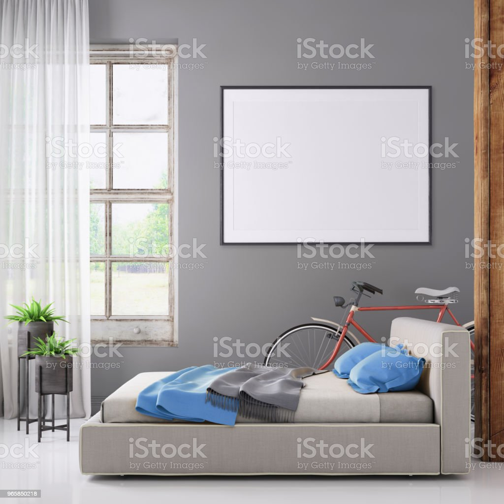 Bedroom interior with pastel colored bed and picture frame template - Royalty-free Apartment Stock Photo