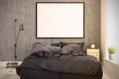 Bedroom interior with picture frame template