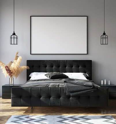 istock Bedroom interior with poster mockup, modern style 1069232042